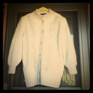 Vintage Lee Sands angora mix sweater w/faux pearls
